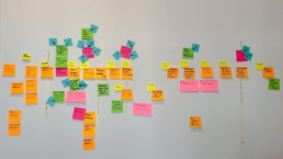 post-its on a wall that are the result of an event storming session